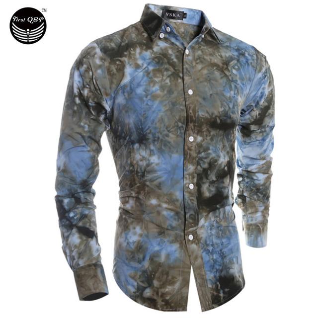 Мужская рубашка 2016 мода Camisas с длинным рукавом цветочный печать Camisetas новый ...