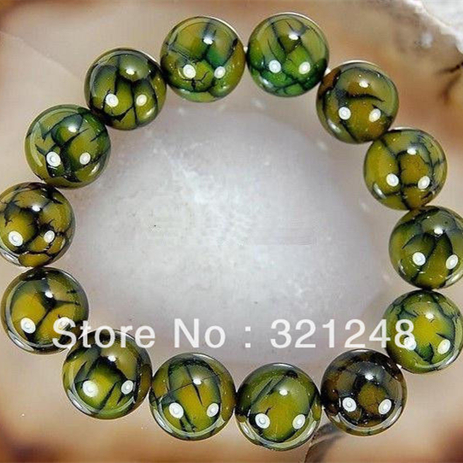 Free shopping new 2014 diy 10mm Dragon Veins Agate Bangle Bracelet 7.5''GE5339(China (Mainland))
