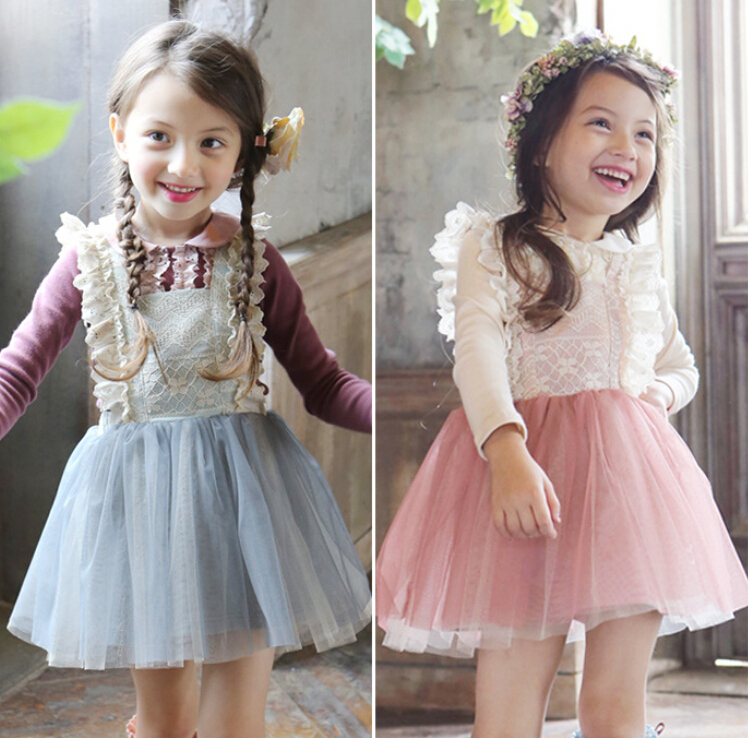 Baby Kids Cute Mesh Suspend Dresses Princess Girls Fairy Sweet Bow Dress Pink Ligth Blue 5 pcs/lo Wholesale(China (Mainland))