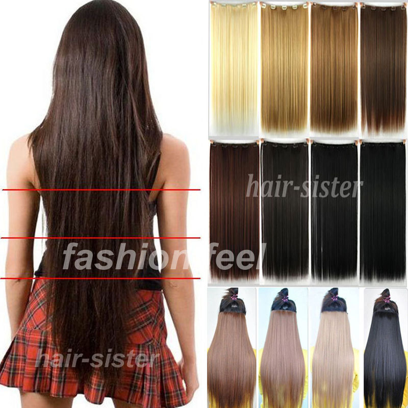 """Maga Long NEW hair 30"""" 76CM Straight Clip in Hair Extensions Extension 5Clips on Black Brown Blonde US UK 1-5 DAY FAST SHIP(China (Mainland))"""