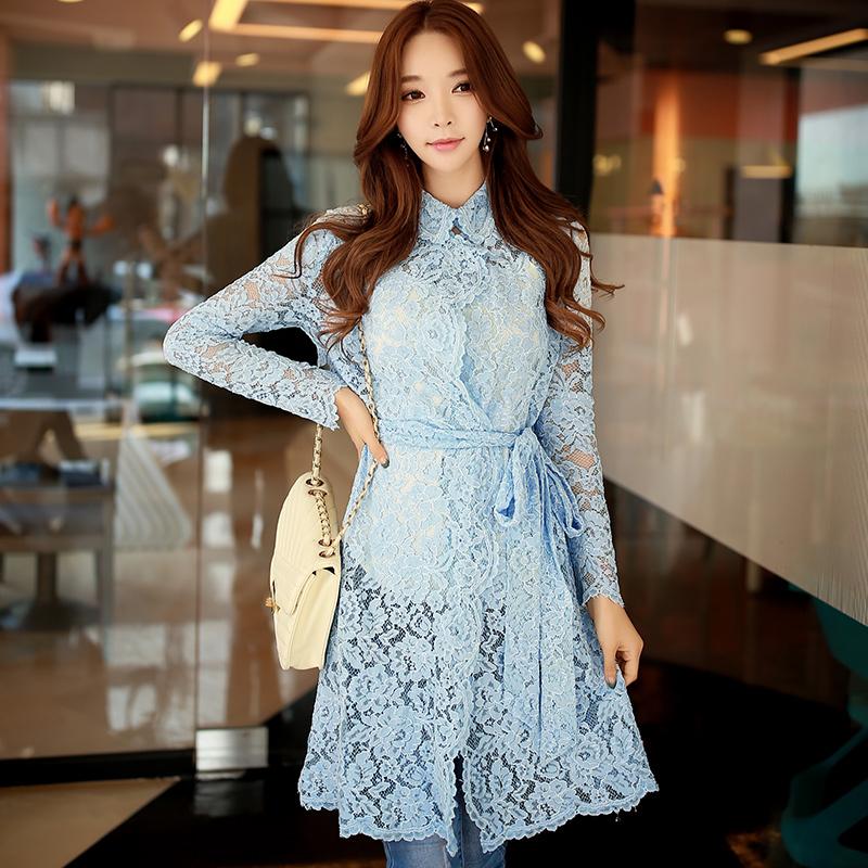 dabuwawa 2017 new women's fashion long sleeved lace long slim trench coat women windbreaker pink doll
