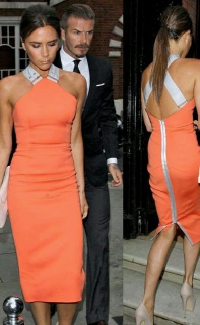 free shipping CELEB VICTORIA BECKHAM STYLE OPEN BACK BODYCON PARTY DRESS SIZE 8 10 12 14(China (Mainland))