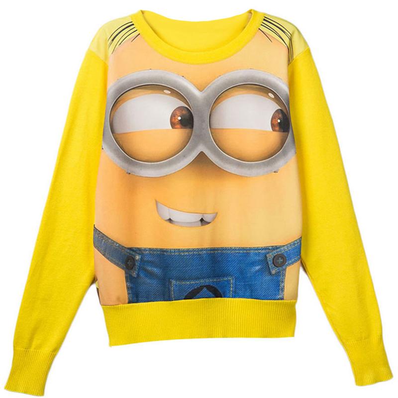 New Fashion Women's Leisure tracksuit yellow sport suits Cartoon expression casual Printed Hoodies Woman Sweatshirt TS003(China (Mainland))