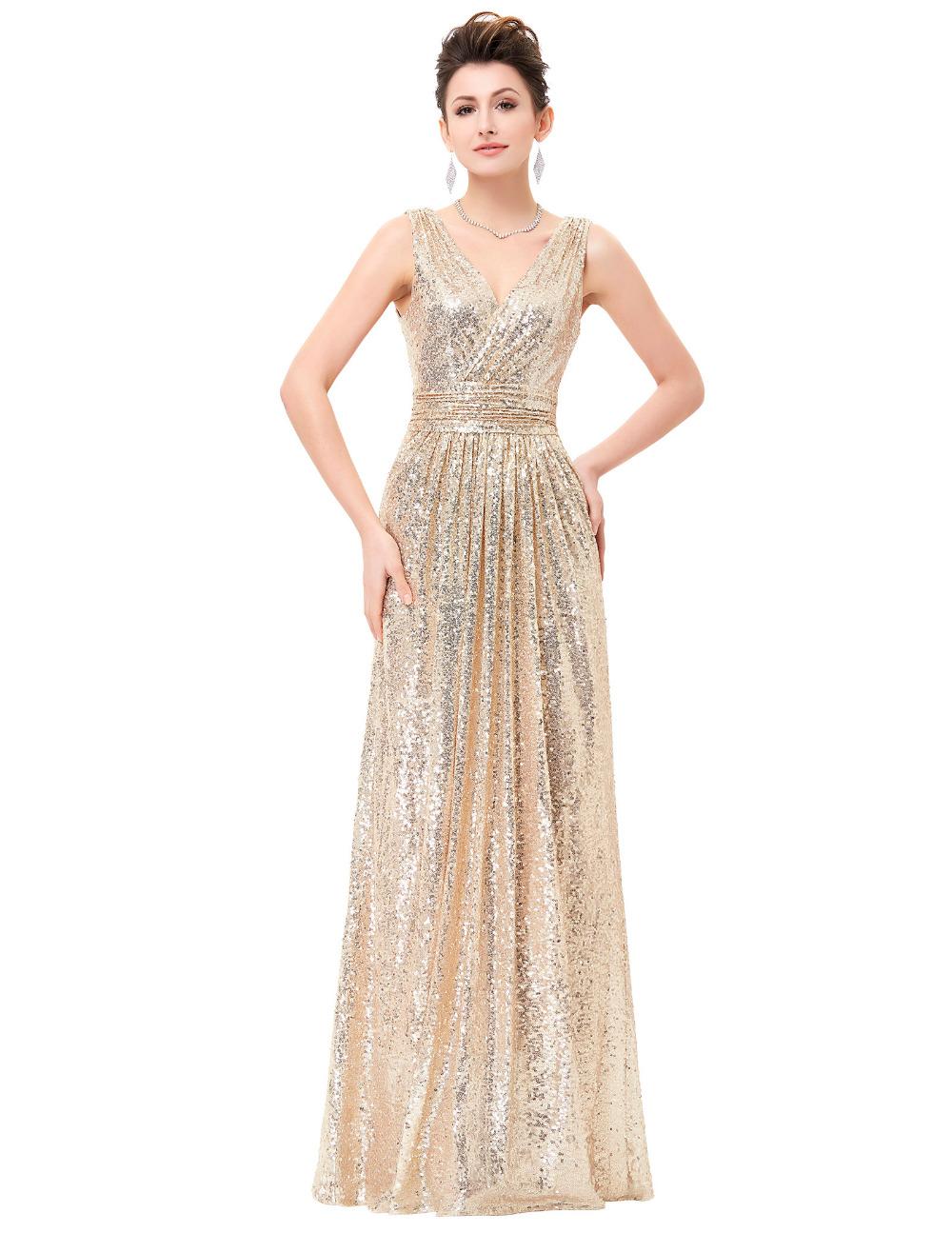 Cheap Long Evening Dresses 2016 V Neck Light Gold Rose Gold Silver Wedding Party Dress Vestido Formal Evening Dresses For Women(China (Mainland))