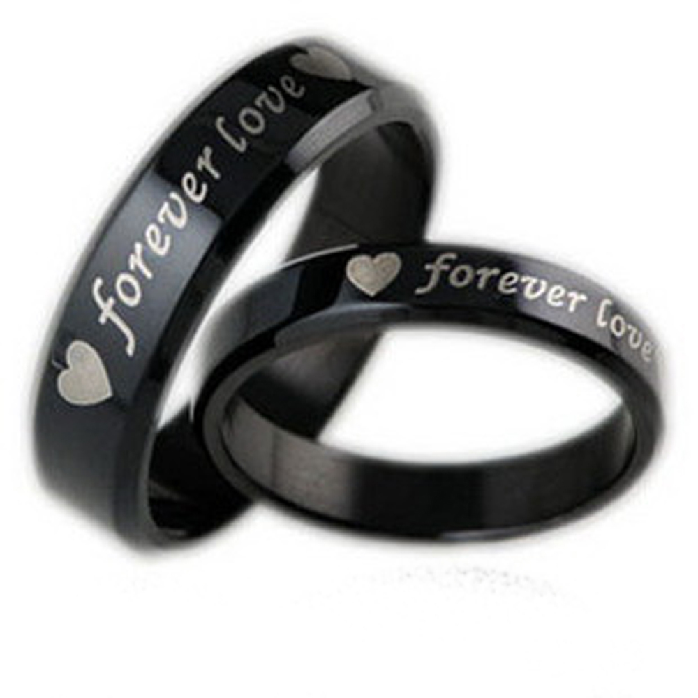 "Hot Fashion Heart Style Couple Rings ""Forever Love"" Stainless Steel Punk Women Men - Winfly Store store"