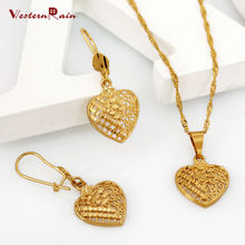 WesternRain Vintages Popular 24k Gold Plated Jewelry Heart Shape Pendants Necklaces & Dangle Earrings, Fashion Jewelry #G656(China (Mainland))