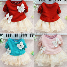 New Casual Girls Top Kid Lace Bow Princess Long Sleeve Dress 3M-2Y Clothes LXJ(China (Mainland))