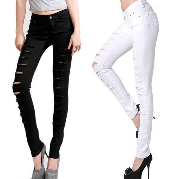 Черный белый брюки Cut разорвал джинсовые брюки женщин S-XXL