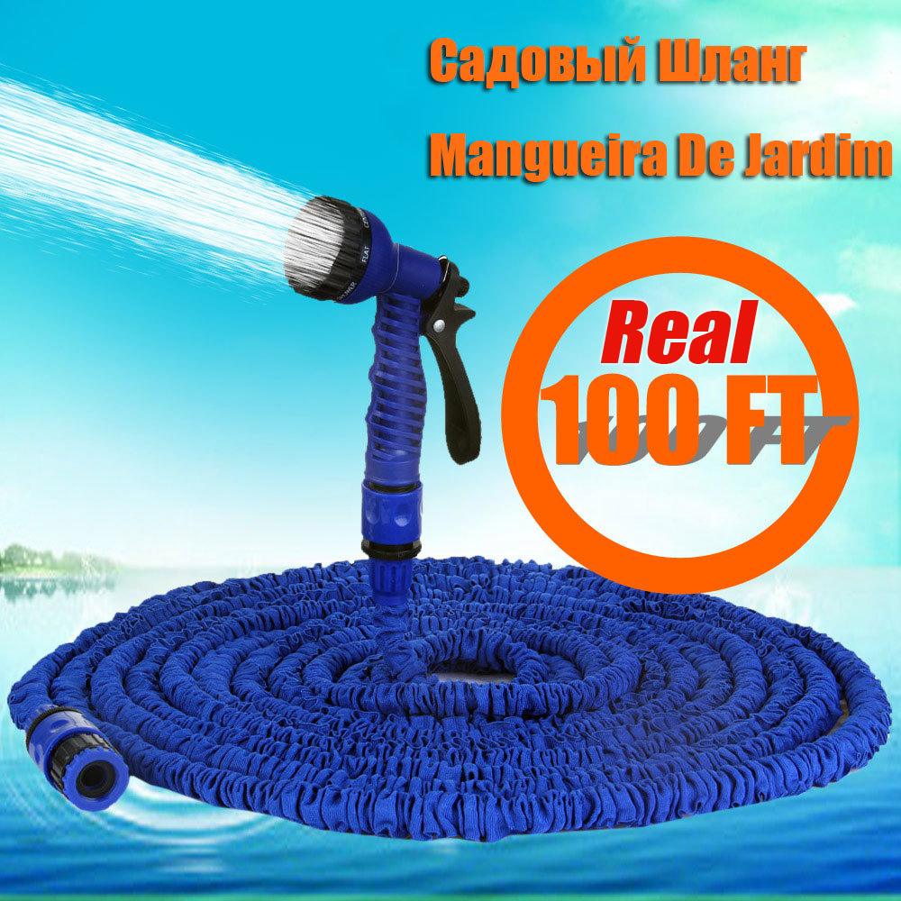 2015 Free shipping 100ft Expandable Magic flexible Hose Water for Garden Car Pipe Plastic Hoses to Watering with Spray Gun Blue(China (Mainland))