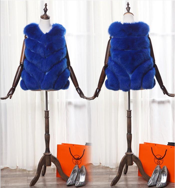 2016 New Style Lady Fur Vest Faux Fur Jacket Lady Plush Fox Fur Coat Outerwear Vest Blue White Black