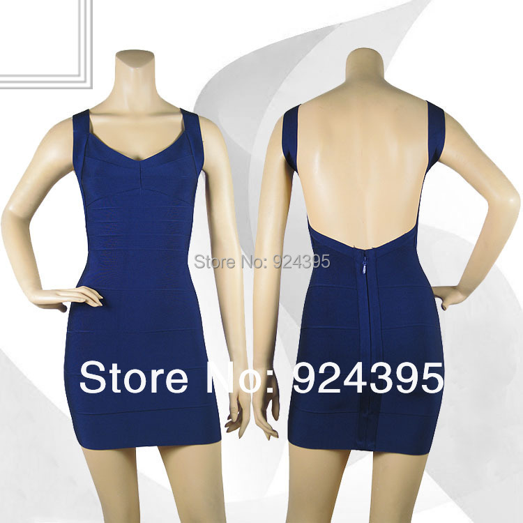 Backless spaghetti strap HL bandage dress sexy open back ladies elastic yellow purple blue black v neck party red dresses pink(China (Mainland))