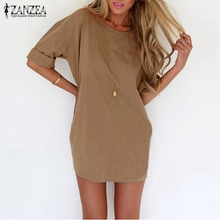 Buy ZANZEA 2017 Summer Style Fashion Women Casual Loose Dress Sexy Ladies Short Sleeve Solid Color Mini Dresses Vestidos Plus Size for $6.86 in AliExpress store