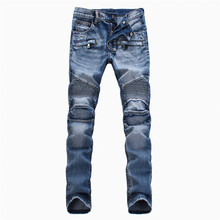 Men's blue slim biker jeans Male fashion denim cargo pants Ripped jeans Long trousers Free shipping(China (Mainland))