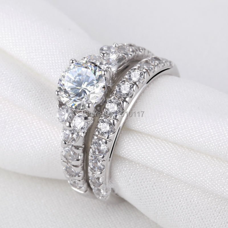Ship From US Pure 925 Sterling Silver Wedding Ring Sets AAA CZ Engagement Band Trendy Jewelry