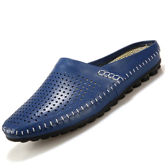 Мягкие мужчины кожаные ботинки свободного покроя мужчины сандалии тапочки мода дышащий ...