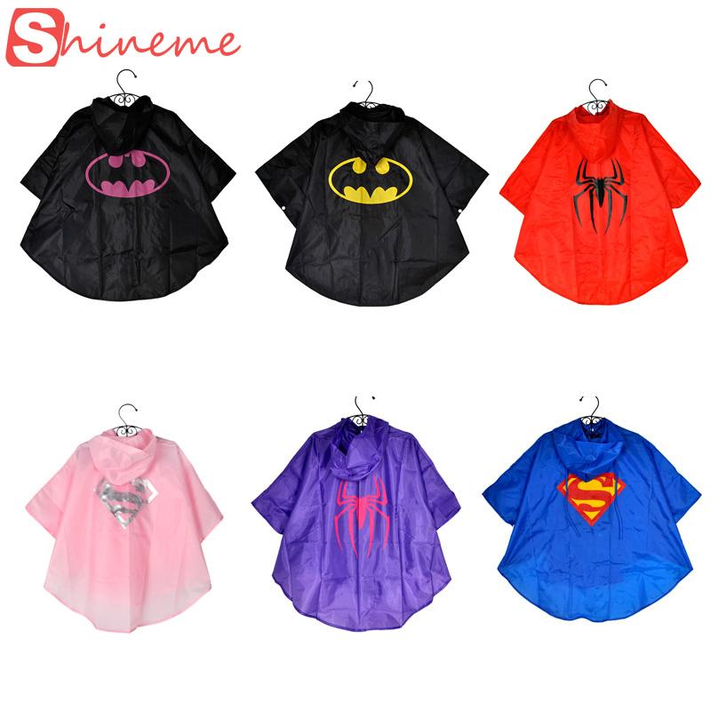 Baby kids superman batman spiderman boys girls raincoat for children school bicycle rainwear Waterproof superhero rainsuit(China (Mainland))