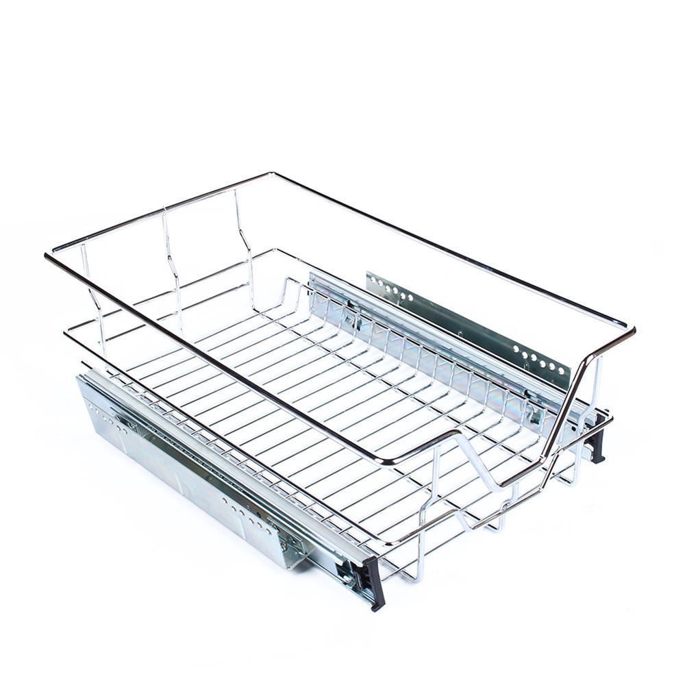 1Pc Kitchen Pantry Pull Out Sliding Metal Basket Drawer