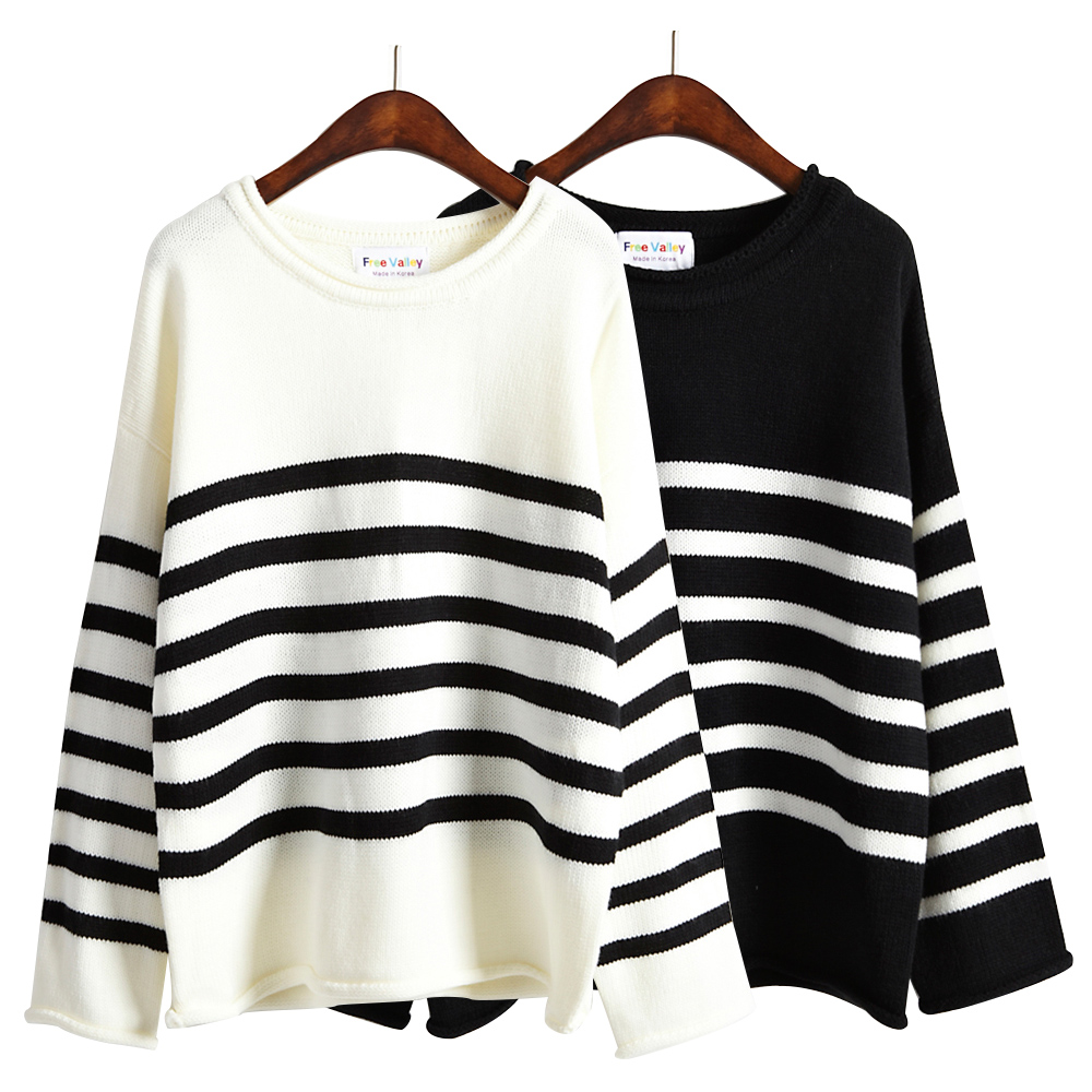 Black And White Striped Sweater Womens Her Sweater