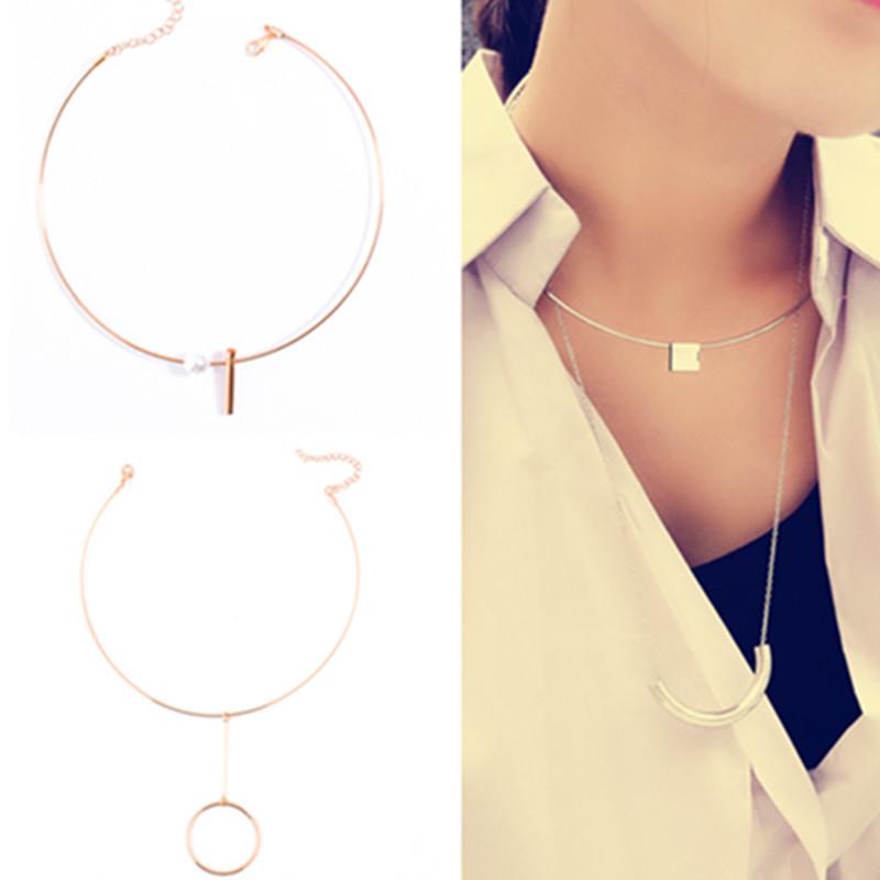 2016 mujeres baratas hombres Vintage collar de Metal redondo del Metal de  plata chapado en oro Torqure gargantillas cadena para .