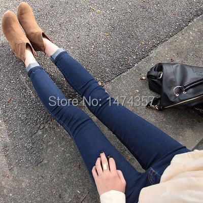 Korea purchasing Slim thin skinny jeans female feet pencil pants Korean wave blue jeans055(China (Mainland))