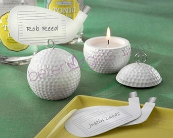 "Wedding Decoration wholesale ""Golf Ball Tea Light Candles with Golf Club Place Cards "" LZ011  wedding favors"