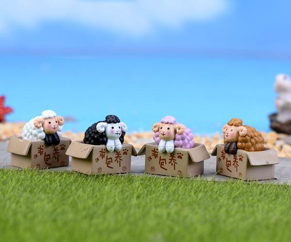 4pcs Animal Sheep figurines terrarium Resin Craft House Oranment Fairy Garden Statues miniatures bonsai Gnomes(China (Mainland))