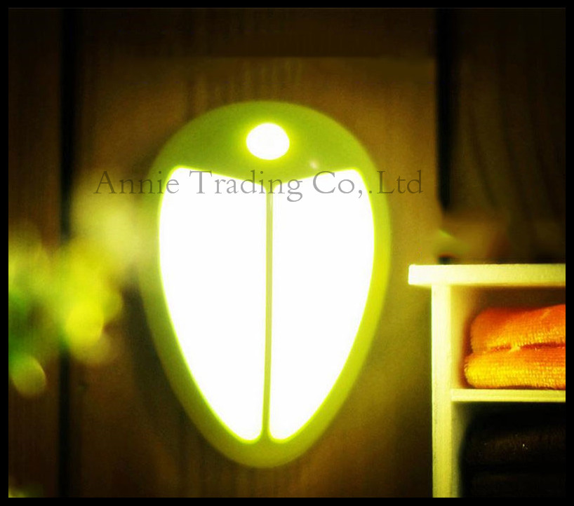 led night light battery control montion sensor night light body sensor wall stick light green or white housing cover Beatles(China (Mainland))