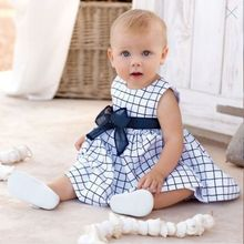 Girls Dress Baby Toddler Girl Kids Cotton Top Bow-knot Plaids Summer Dress Outfit Clothes 0-3 Years(China (Mainland))