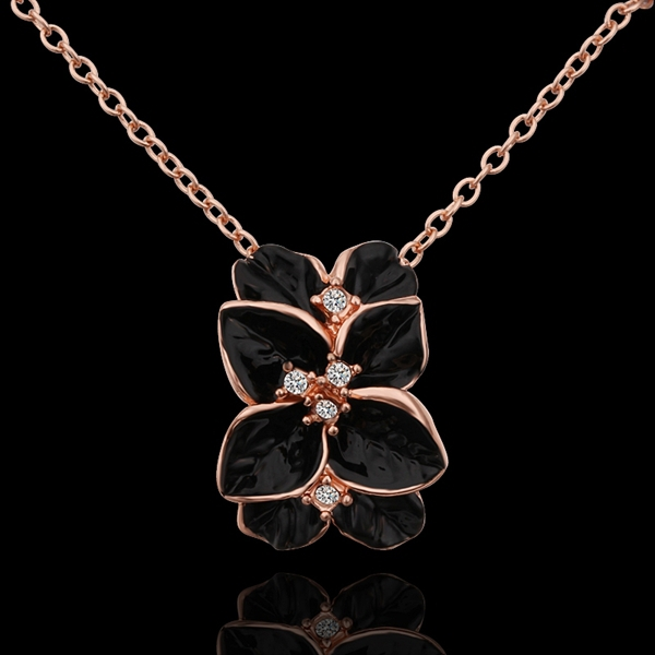 18K Rose Gold plated fashion jewelry Austria Crystal,rhinestone,CZ diamond,Nickle Free pendant necklace KN612 - fei shao's store