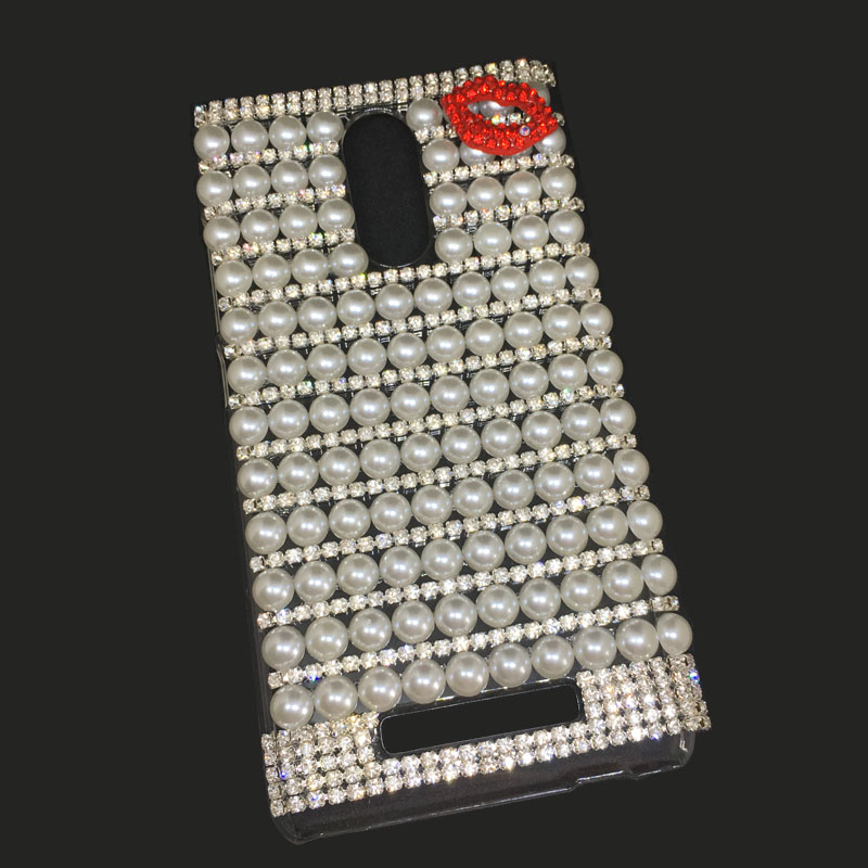 New Pearl Claw Chain Red Lips Decorated Rhinestone Case for Xiaomi Redmi Note 3 5.5 inch Phone Women Cover(China (Mainland))