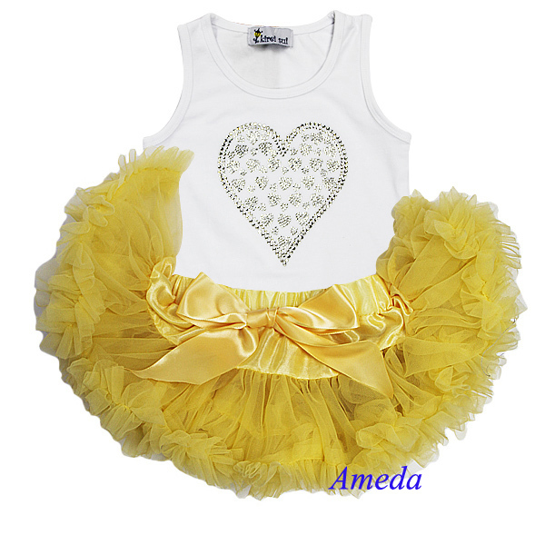 Newborn Baby Girls Silver Rhinestone Hearts White Tank Top and Primrose Yellow Pettiskirt Tutu  2 Pcs Set 0-6M(Hong Kong)