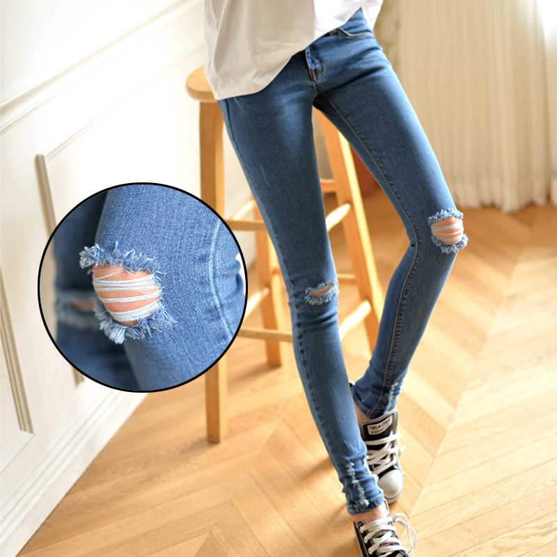 Why silent farewell music with paragraph 2015 Mo Sheng Zhao was thin elastic hole jeans feet pencil female Korean tide(China (Mainland))