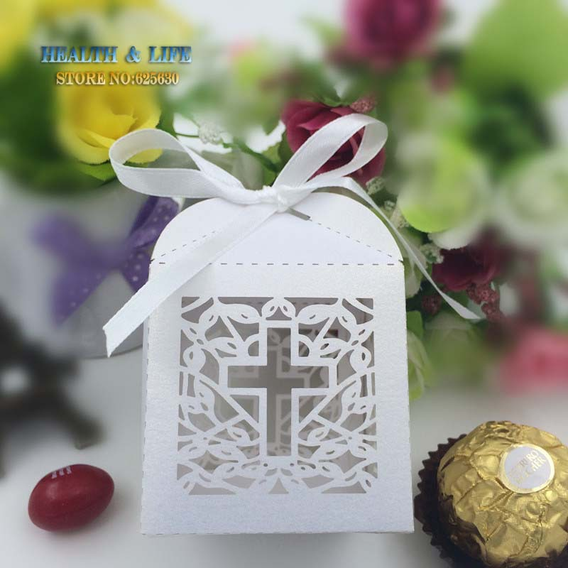 50PCS Jesus Christian Laser Cut Wedding Box in Pearlescent Paper box,party show candy box,Chocolate Box,party gifts(with ribbon)(China (Mainland))