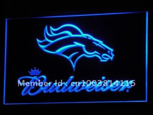 b294-b Denver Broncos Budweiser Club LED Neon Light Signs Wholesale Dropshipping(China (Mainland))