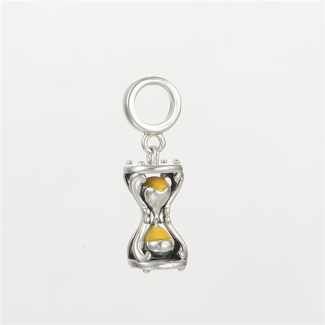 S925 стерлингового серебра Jewerly песочные часы эмаль мотаться бусины DIY выводы подходит европейский бренд очаровывает браслеты и ожерелье