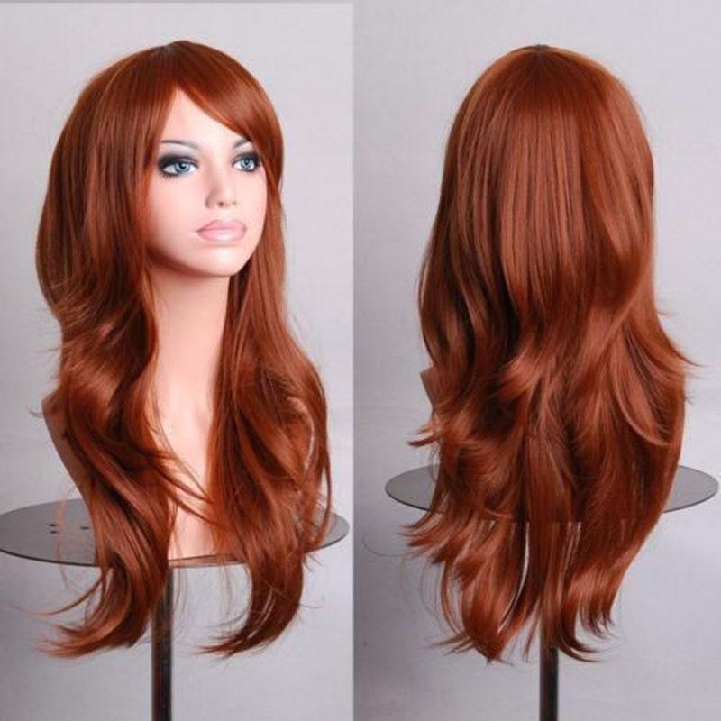 Fashion Women Wig Orange Brown Long Wavy Girls Wig Synthetic Lolita Cosplay Wig<br><br>Aliexpress