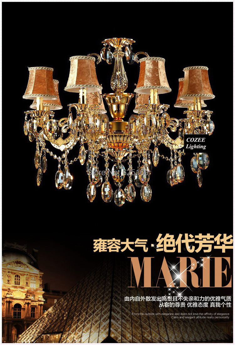 Free Shipping Zinc Alloy Chandelier Crystals Luxury Crystal Lights with 8 Arms Chandeliers Lamps for Home Decor CC-N073/8(China (Mainland))