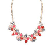 2014 Hot Collier Femme Fashion Leaf Rhinestone Resin Short Women Collar Choker Necklace Statement Jewelry