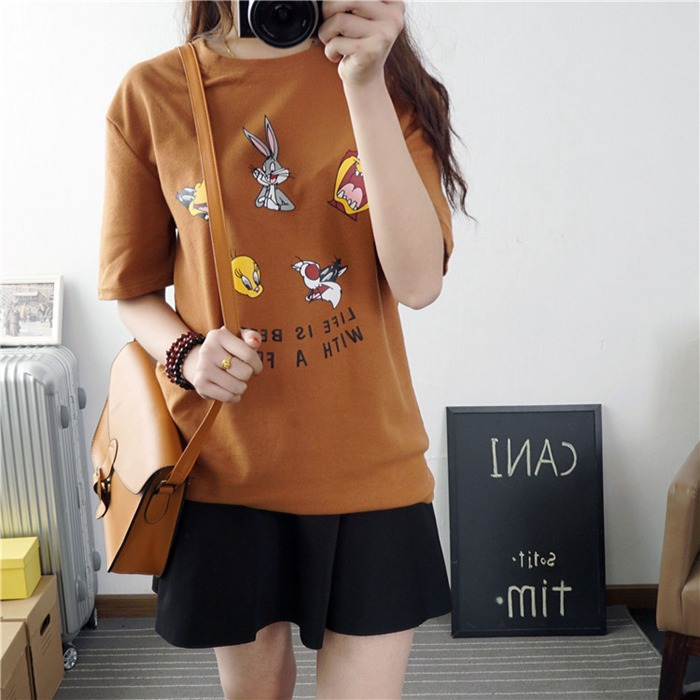 Fashion summer new women cartoon Bugs Bunny letters printting loose comfortable Casual peached cotton O-Neck big size T-shirt(China (Mainland))