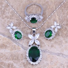 Scorching ! Inexperienced Emerald Topaz Silver Jewellery Units Earrings Pendant Ring For Girls Dimension 6 / 7 / eight / 9 / 10 / 11 / 12 S0042