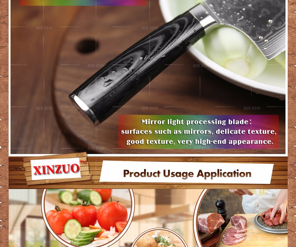 Buy XINZUO 7inch kitchen knife 73 layer Japanese VG10 Damascus vg10 chef knife Japanese woman chef knife micarta handle free shiping cheap