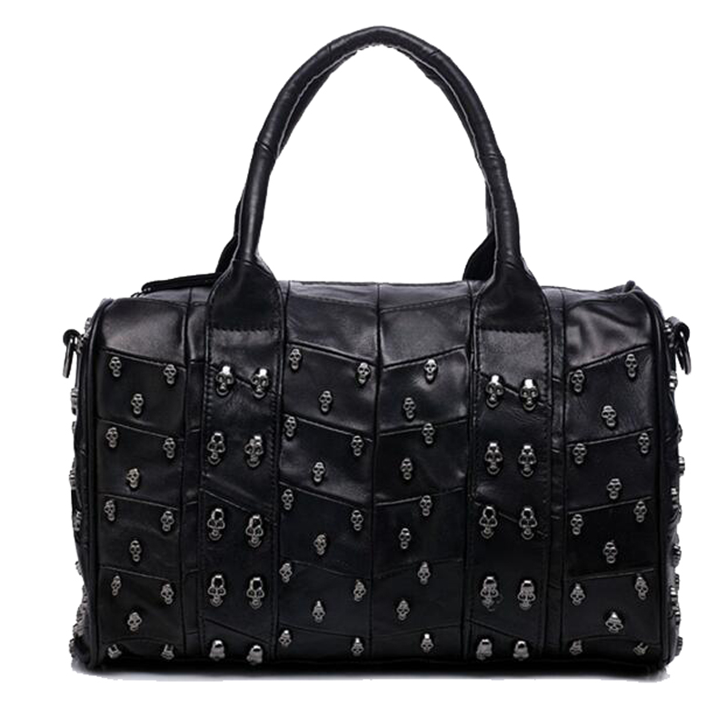 Sheep Genuine leather Handbags Skull Rivet Genuine Leather Shoulder Bag Boston Shoulder Handbag Large Tote Ladies Hand Bags 2016