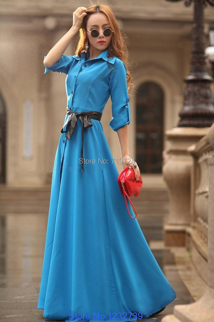 2014 New Spring Summer Women Fashion Bohemian Long Beach Ultra Slim Mopping The Floor Dress Full Trench One-piece Dress(China (Mainland))