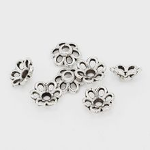 100 pcs Tibetan Silver Hollow Flower End Bead Caps For Jewelry Craft DIY