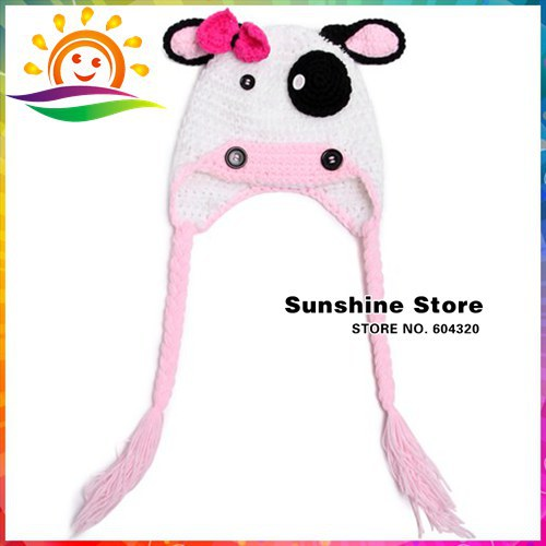 infant 100% handmade pig baby winter hat,Animal crochet hat White With Pink Bow newborn knit cap hat beanie #3C2651 -1 10pcs/lot(China (Mainland))