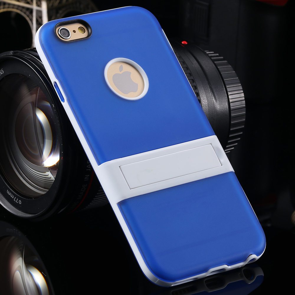 Fashion New Hybrid Slim Soft TPU Case Stand+White Armor For iPhone 6 4.7' 6G YXF04336 Free&Drop shipping For Iphone6 Blue,Pink(China (Mainland))