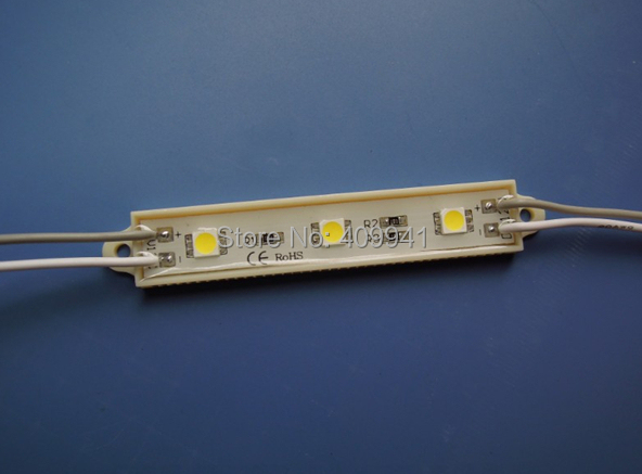 3pcs SMD5050 LEDs LED Modules Waterproof IP68 DC12V Warm White/ Pure White Rectangle Shape Free ship(China (Mainland))