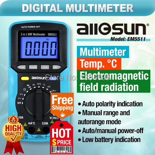 all-sun EM5511 EMF digital multimeter 3 in 1 EMF multimeter backlight LCD display tester Multi-function multimeters EMF tester(China (Mainland))