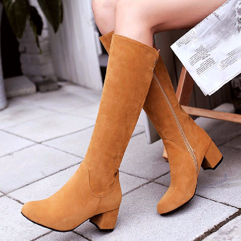 Big Size 34-43 Nubuck Knee Boots Women's Autumn Winter Shoes Thick Heels 2016 Fashion Casual Female Footwear Shoes Woman