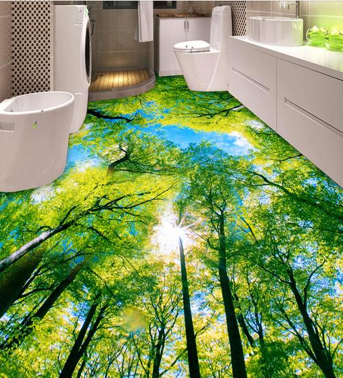 Customized 3d pvc wallpaper bathroom blue sky wallpaper 3d for Bathroom floor mural sky